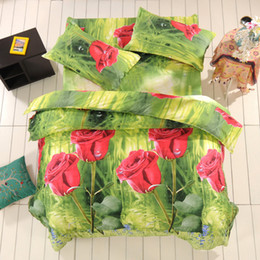 Wholesale Sunflower Cotton Duvet Set - bedding set 3d bed set rose Butterfly sunflower Tiger lion Giraffe bedclothes duvet cover sheet queen size bed linen