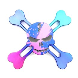 Wholesale Funny Desks - 2017 Hot Sale New Hand Fidget Spinner 4 Skull Head Color Focus Desk Toy Finger Gyro Funny Adults& Children Toys