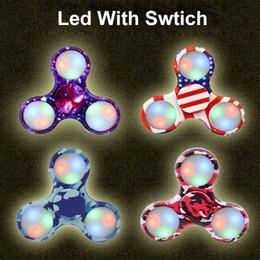 Wholesale Glow Toys Flower - Free DHL shipping camo series flower pattern glow in the dark emoji mix fidget spinner stress reducer