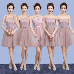 Wholesale Homcoming Mini Dress - Bridesmaid dresses short tulle 2017 silver grey sisters graduation dresses a line young girls homcoming gowns free shipping