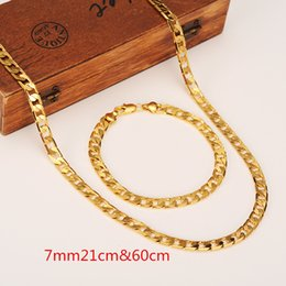 Wholesale Mens Solid Gold Bracelets - Womens Mens Chain 14K Golden GF Chain Curb Link Yellow Solid Gold Filled Necklace 600mm Bracelet 210mm *7MM Chain Jewelry sets
