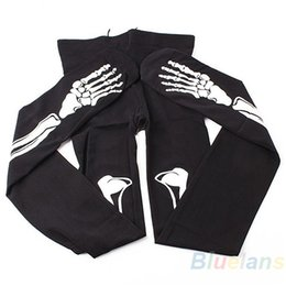 Wholesale Skeleton Pantyhose - Wholesale- 2016 Womens Sexy Black Skeleton Tattoo Pantyhose Stockings Tights