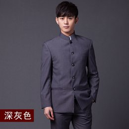Wholesale Classic Chinese Clothing - Wholesale- Chinese Tunic Suits 2016 autumn Slim classic (Jacket+Pants+Tie) male Business Suits 3XL Traditional men's clothes Free postage