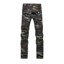 Wholesale Mens Vintage Denim Shorts - Men's Skinny Jeans Fashion Designer Mens Shorts Jeans Slim Motorcycle Moto Biker Causal Hip Hop Camouflage Men Jeans Free Shipping