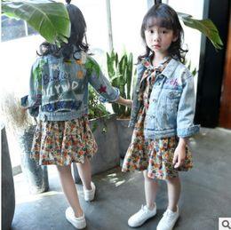 Wholesale Graffiti Dresses Wholesale - Big Kids girls denim jacket children letter leaf DIY graffiti coat child lapel hole jeans tops outwear girl floral printed dresses R0309