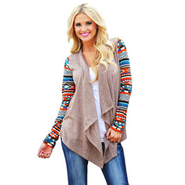 Wholesale Aztec Tops - Wholesale- Cardigans Women Knitted Sweater Fashion Aztec Long Sleeve Striped Tops Casual Long Cardigans Air Conditioning Asymmetrical Shirt