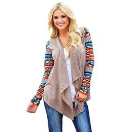 Женщины aztec кардиган онлайн-Wholesale- Cardigans Women Knitted Sweater Fashion Aztec Long Sleeve Striped Tops Casual Long Cardigans Air Conditioning Asymmetrical Shirt