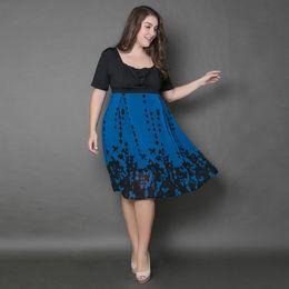 Wholesale Dresses Chiffon Plus - Wholesale Summer Casual Europe Style Women Blue A-line Chiffon Dresses For Ladies Short Sleeve High Waist Square Collar Plus Size Dress