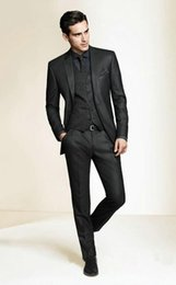 Wholesale Hot Dress Pants - Wholesale- Hot Sale Bespoke Men Suits Classic Slim Fit Black Wedding Dress Groom Tuxedos Prom Suits 3 Piece Men Wedding Suits