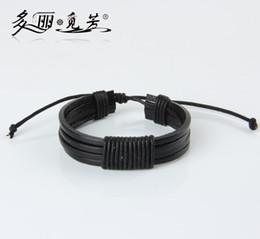 Wholesale Cuffed Men S - Wholesale-PSL070 Black Braided Adjustable Leather Popular Bracelet Cuff Women Men`s Casual Jewelry 2pcs lot