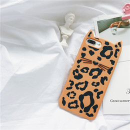Wholesale Beard Iphone - Luxury Leopard Print Beard Cat Silicone Soft Case For iPhone 5s 6 Back Cover Ball Cute Bag For iPhone 7 8 With Tassels+Pompom