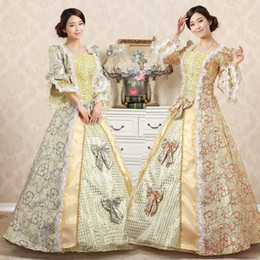Wholesale Colonial Costumes - 2016 New Medieval Dress Victorian Print Marie Antoinette Dresses Retro Palace Colonial Belle Costumes Dress Can Be Customized