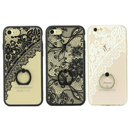 Wholesale Yellow Damask - Hard Plastic Phone Cases Lace Damask Rubberized Matte Cover With ring stand for IPhone 7plus 6s 6plus Case