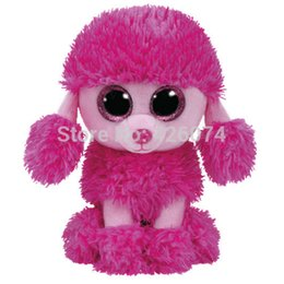 Wholesale Poodle Plush Toy - Wholesale- New TY Beanie Boos Big Eyes Stuffed Animals Patsy Pink Poodle Dog Kids Plush Toys For Children Christmas Gifts 15CM
