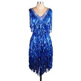 Wholesale Latin Dresses Woman Dance - 2017 New Women Latin Dance Dress Royal Blue Rhinestones Sequin Tassels Samba Dance Costumes Tango Salsa Dress Samba Costume CAD173