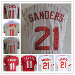 Wholesale Mens Blue Vest - Mens Cincinnati 1990 Throwback #11 Barry Larkin 21 Deion Sanders Cheap White Pullover Vest Gray Red Stitched Sleeveless Jerseys M-3XL