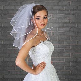 Wholesale Net Ribbon Yarn - Free Shipping!!New White Ivory Short Wedding Accessories Ribbon Edge Three Layer Bridal Veil With Comb Hot Sale Party Fashion Bridal