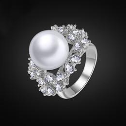 Wholesale Crystal Designer Bridal Set - Top Quality Platinum Diamond Ring Austrian Crystals Midi Rings Designer Bridal Jewelry Sets Mother Pearl Wedding Ring Free Gift Box