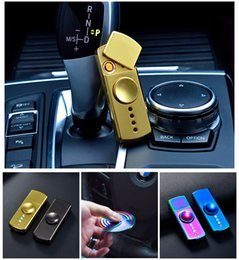 Wholesale Light Cigarette Lighter Rechargeable - Hand Spinner Cigarette Lighter With LED Light EDC Fidget Toy Decompression Hand Spinners Metal Spinning Top USB Rechargeable OTH422
