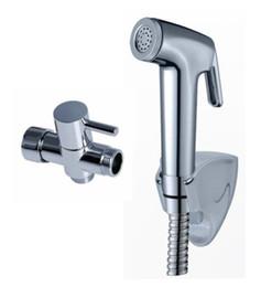 "Wholesale Brass Spray - Free Shipping fashion Chrome Bidet spray gun Toilet flusher G7 8"" Brass T-adapter + ABS Strong pressurize Sprayer Hand Shower + 150cm Hose"