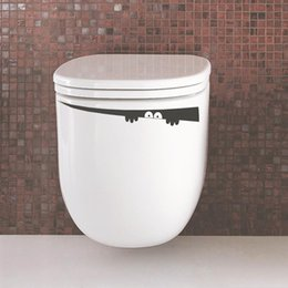 Wholesale Wall Tile Mural Ship - Wholesale- 4.2*42cm Peeping Toilet Monster Decal Vinyl Bathroom Sticker Wall Mural Furniture Home Room DIY Free Shipping