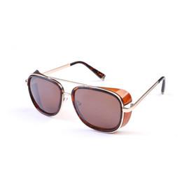 Wholesale Iron Frame Mirror - 2017 IRON MAN Classic Steampunk Sunglasses Men and women Mirrored Designer Brand Glasses Vintage Sunglasses Shades UV400
