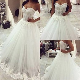 Wholesale Sweetheart Princess Wedding Dress China - Vintage Wedding Dresses Vestido De Noiva Longo Sweetheart Princess Ball Gown Wedding Dress Made in China 2017