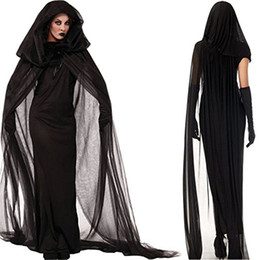 Wholesale Sexy Vampire Brides - New dark ghost bride women vampire costumes anime cosplay uniform role playing solid net yarn trench sexy costumes for family