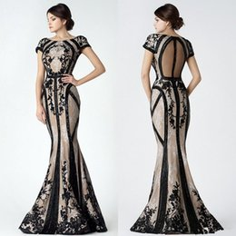 Wholesale One Shoulder Beaded Crystal Dresses - Saiid Kobeisy Vintage Black Champagne Mermaid Prom Dresses with Sleeves 2018 Modest Sheer Back Lace Applique Dubai Arabic Evening Gown