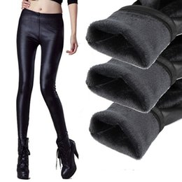 Wholesale Leather Leggings Boots - Wholesale- 2016 new styles high quality winter warm women leather leggings trousers thickening black Leather boot leggings skinny pants