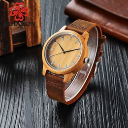 Wholesale Custom Wrist Bracelets - SIHAIXIN Men's Watch Genuine Leather Bracelet Watch With Engraved Custom Text Wooden Bamboo Wrist Watches As Gift Male