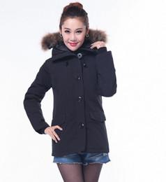 Wholesale Coats Racoon Fur Collar - Canada style Down Jacket Coat Women Fashion Outdoor Racoon Fur Collar Hooded Down Parka Down Jacket ten color DHL Freeshipping