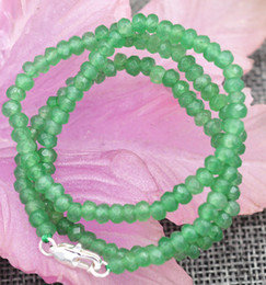"Wholesale Faceted Gems - New 2x4mm Faceted Myanmar Natural Emerald Abacus Gems Necklace 18"" Silver clasp"