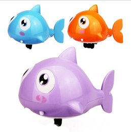Wholesale Plastic Wind Up Animals - Cute Cartoon Funny Baby Bath Swimming Animal Fish Clockwork Wind Up Water Toy Shark Plastic Pool Bath Kids Gift Toy YH986