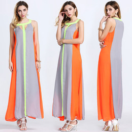 Wholesale Cheap Acrylic Panels - Brand New Maxi Dresses Bright Color Patchwork Sleeveless Sundress Big Skirt Loose Long Dress Cheap Women Casual Dresses