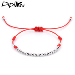 Wholesale Beads 4mm String - Wholesale-Lucky Red String Rope Bracelets & Bangles 4mm Platinum Plated Beads Charm Bracelet for Women Girls Kids Christmas Jewelry Gift
