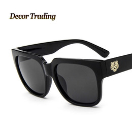 Wholesale Mens Circle Sunglasses - Wholesale-2016 Fashion Retro Designer Vintage Round Circle Glasses Tiger LOGO Women Sunglasses Luxury Brand Mens Eyewear 9718