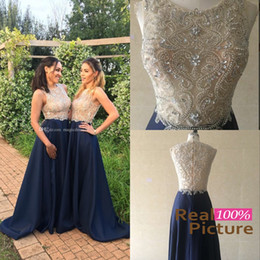 Wholesale Beaded Satin Wedding Dress - Real Photos 2016 Gold and Blue Bridesmaid Dresses Navy Blue Sheer Neck Major Beaded Floor Length 2017 Wedding Guest Party Prom Evening Gowns