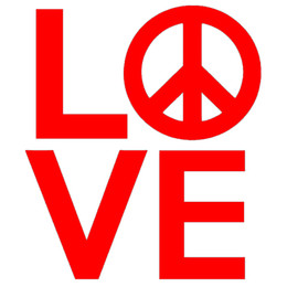 Wholesale Car Door Signs - Wholesale 10pcs lot Love Sculpture with Peace Sign Calm Rational Happy Car Sticker for Truck Window Laptop Kayak Decorate Life Vinyl Decal