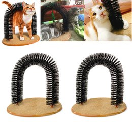 Wholesale fleece toys - Newest Arch Pet Cat Self Groomer Brush Massager With Round Fleece Base Cat dog Toy Brush Pets Toys Purrfect Scratching Devices WX9-54