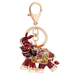 Wholesale crystal wedding keychain - Bling Bling Crystal Rhinestone Elephont Metal Keychain Keyring Car Keychains Purse Charms Handbag Pendant Wedding Gift 4 Colors