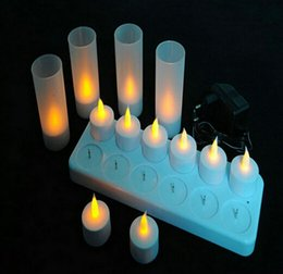 Wholesale Light Bar 12 - 12 Pcs Led Rechargeable Flameless Tea Light Candle Set Electric Votives Waxless Safe Romantic Birthday Wedding Church Bar Decor