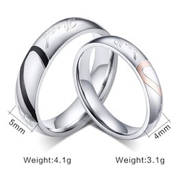 Wholesale Half Circle - JEWELRY 316L Stainless Steel Silver Half Heart Simple Circle Real Love Couple Ring Wedding Rings Engagement Rings 080002