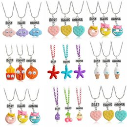 Wholesale Heart Bff Necklaces - BEST FRIENDS FOREVER Heart-shaped Necklace Biscuits Pendant Friendship BFF Christmas Gift 3 Pcs set