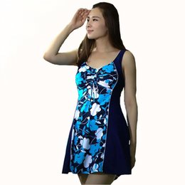Wholesale Dresses Extra Pieces - Hot Spring Natural relaxed Dress Swimsuit Extra Large Size Skirt One Piece Floral Swimwear 2017 Brand