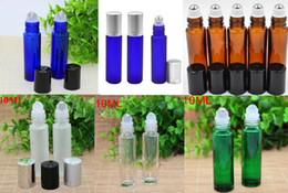 Wholesale empty glass roll bottles - 100pcs Amber  Clear  Green  Frosted Blue Glass Roller Bottles with SS Ball For Essential Oil Perfume Empty Glass Bottles Free DHL Shipping