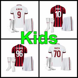 Wholesale Honda Ac - 2017 2018 AC milan home away kids kit jersey 17 18 AC Milan HONDA BACCA CALABRIA POLI BERTOLCCI PASALIC A.SILVA Child uniforms jerseys