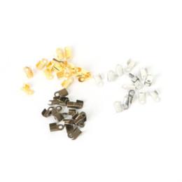 Wholesale Diy Gold End Crimps - fashion Cord Crimp End Caps Buckle Tips Velet Ropes Cords Connectors Clasp,3*6mm 1000pcs DIY Jewelry Findings Parts Accessories