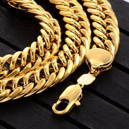 Wholesale Tight Necklaces - Men 18K Gold Filled Solid Huge Necklace Tight Double Cuban Chain , Hip Hop Jewelry ,Birthday Gift