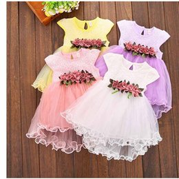 Wholesale Pageant Clothing Girls - Baby Girl Pageant Dresses Kids Princess Ruffle Flower Tutu Dress For Party Toddler Child Fabric Clothes